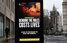 A coronavirus public health notice at a bus stop in London, Britain, 20 January 2021. EFE/EPA/ANDY RAIN