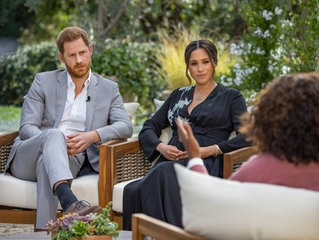 Oprah Winfrey ha entrevistado al príncipe Enrique y a Meghan Markle. / Harpo Productions/Joe Pugliese via Getty Images