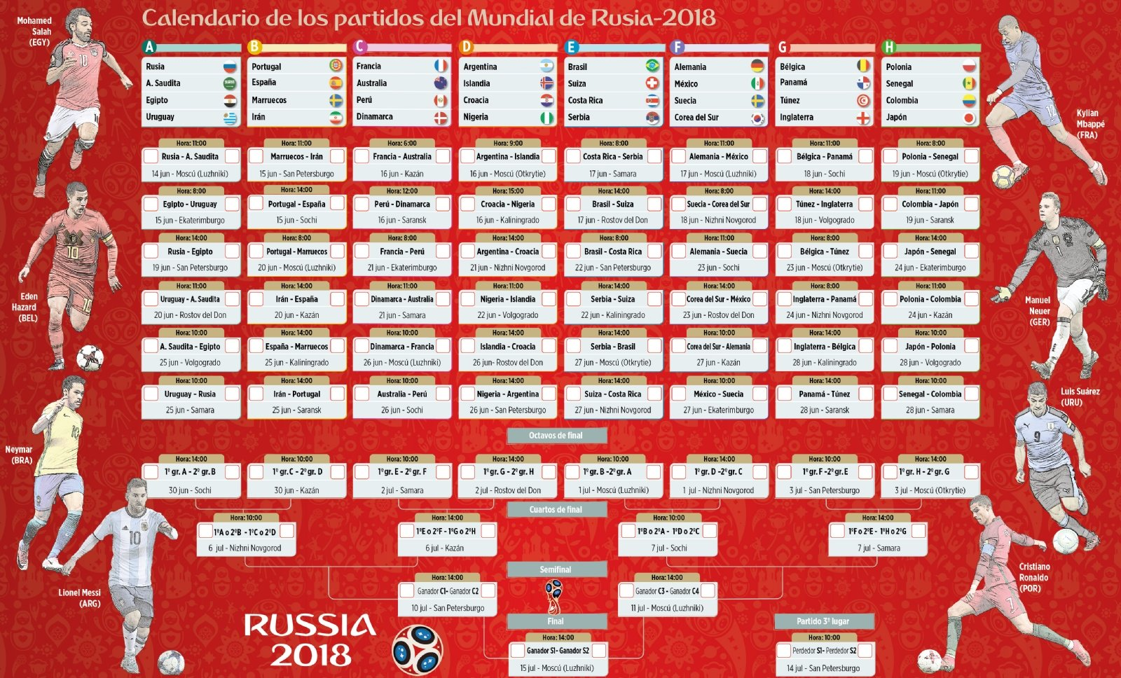 Calendario Mundial Futbol.Calendario Del Mundial De Rusia