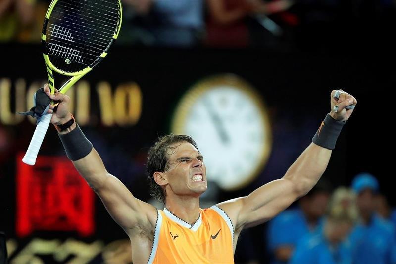 381939f880 El tenista spañol Rafael Nadal celebra tras imponerse al estadounidense  Frances Tiafoe.   MAST IRHAM